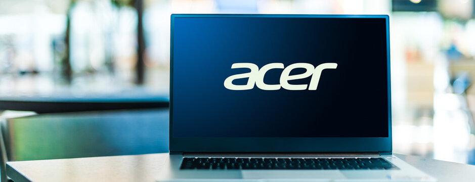 Laptop computer displaying logo of Acer