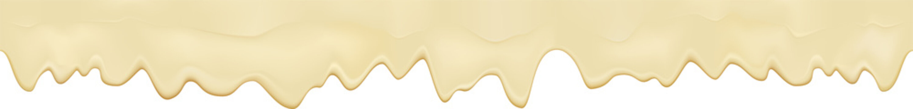 Liquid melted cheese white seamless texture. Mayonnaise texture isolated on white background. Cream pouring border. Vector realistic illustration.