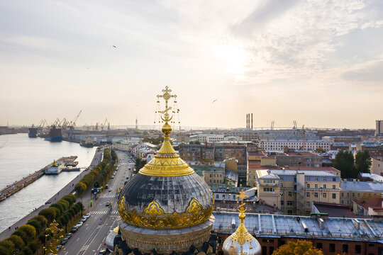 aerial view of the Church of the Assumption of the Blessed Virgin Mary on Vasilievsky Island in St. Petersburg and the Neva River