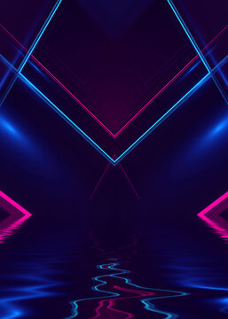 Abstract dark futuristic background. Ultraviolet neon light rays are reflected off the water. Background of empty stage show, beach party. 3d illustration
