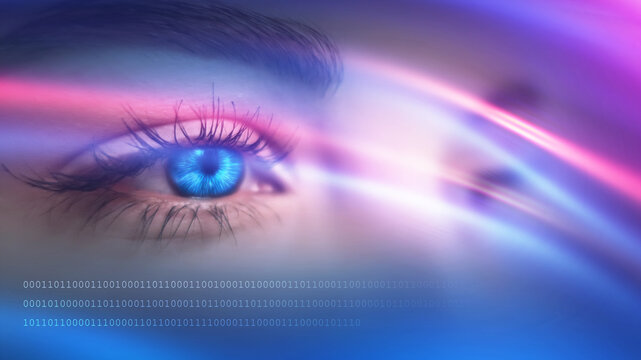 Close-up biometric scan of a female eye. The concept of modern virtual reality. Female eye on a dark abstract background. Neon glow, hologram.