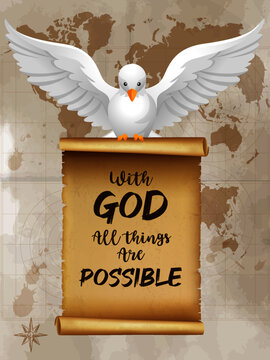 """dove of peace """" with god all things are possible """""""