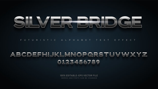 Modern Futuristic Silver Bridge alphabet fonts with Text Effect