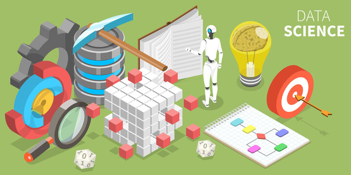 Data Science, Scientific Methods, Processes, Algorithms and Systems to Extract Knowledge and Insights From Many Structural and Unstructured Data. 3D Isometric Flat Vector Conceptual Illustration.