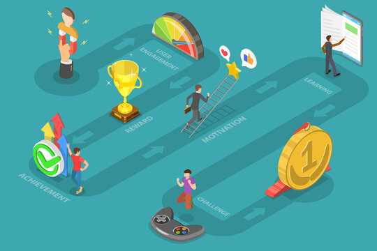 Interactive Content For Audience Engaging, Mobile App Gamification, Encouraging Customers to Earn Rewards. 3D Isometric Flat Vector Conceptual Illustration.