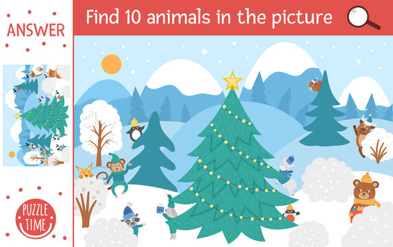 Vector Christmas searching game with cute characters in winter forest. Find hidden animals in the picture. Simple fun educational New Year printable activity for kids..