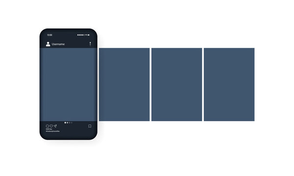 Mockup of the mobile app with open photo social network. Dark theme. Photo galery. Vector EPS 10. Isolated on white background