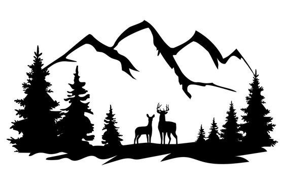 vector deer in the wilderness