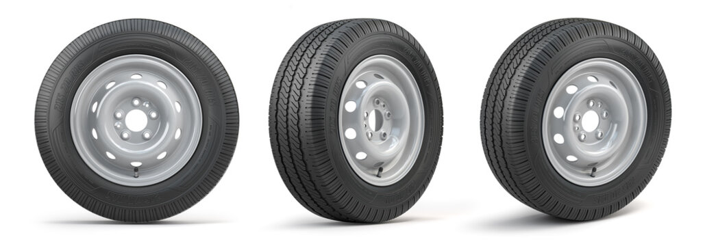 Set of car wheels with tyres for vans and trucks isolated on white background.