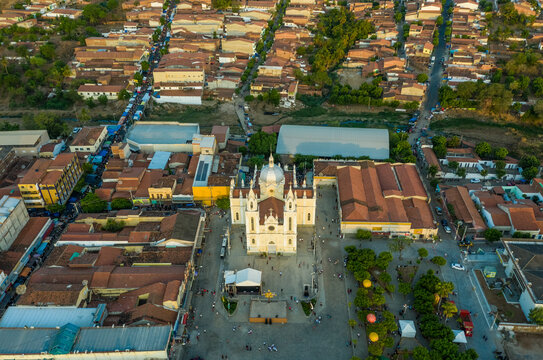 Aerial view Shrine Parish of St. Francis of Chagas, Ceara in Brazil.