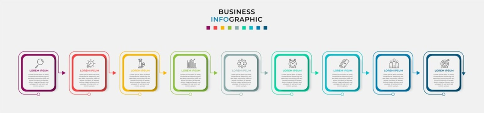 Business Infographic design template Vector with icons and 9 nine options or steps. Can be used for process diagram, presentations, workflow layout, banner, flow chart, info graph