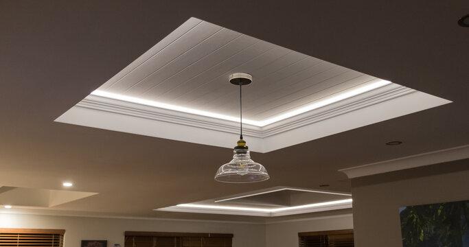 Decorative recessed ceiling with LED strip lighting (Secret Lighting)