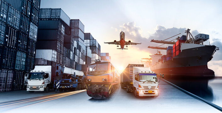 Global business of Container Cargo freight train for Business logistics concept, Air cargo trucking, Rail transportation and maritime shipping, Online goods orders worldwide