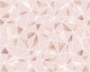 Fashionable polygonal seamless pattern with rose gold triangle tiles.