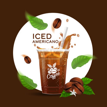 Cold brewed coffee takeaway cup vector illustration, Iced americano