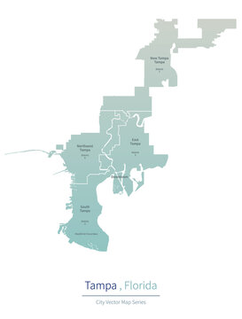 Tampa Map. vector map of major city in the Florida.