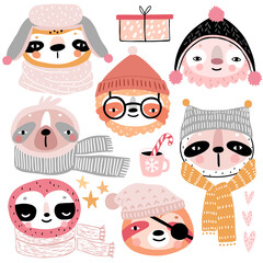 Wall Mural - Cute Sloths in winter clothes. Childish characters - Christmas theme.