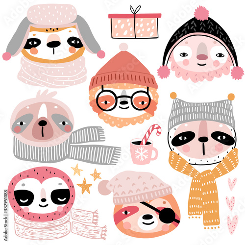 Wall mural Cute Sloths in winter clothes. Childish characters - Christmas theme.