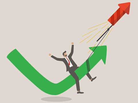 Stock market rebound, overcome business down fall and grow up profit or leadership and achievement concept,  businessman flying with fireworks rocket with green rising up performance arrow graph.