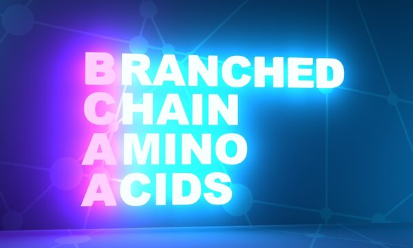 BCAA - Branched Chain Amino Acids acronym. Sport nutrition concept background. 3D rendering. Neon bulb illumination