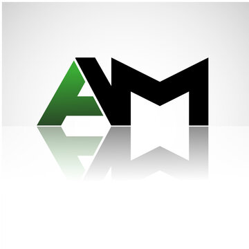 AM company linked letter logo icon green and black