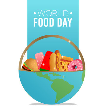 Vector graphic of world food day good for world food day celebration. flat design. flyer design.flat illustration.