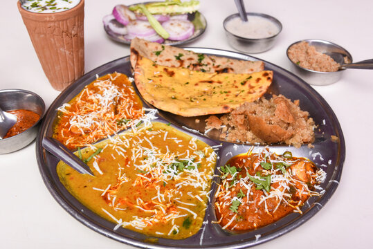 Indian flat bread tandoori roti and Malai kofta made in tandoor kitchen, Jaipur Rajasthan India. made from whole wheat Atta flour, baked on charcoal .