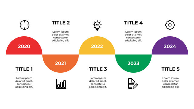 infographic element vector, data visualization layout template vector with five steps, options, list, can be used for timeline, process, information, presentation slide, etc