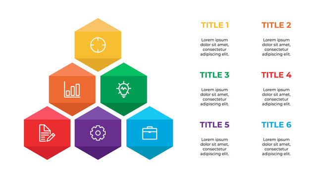 infographic element, data visualization template vector, hexagon design with 6 steps, options, list, process, points.