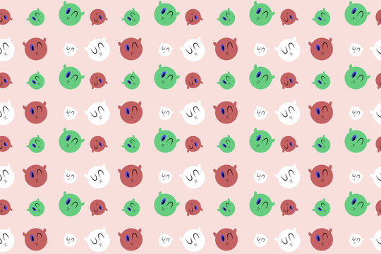 seamless pattern of emojis with different expressions vector design illustration