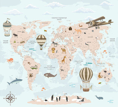 Children's world map, world map for children with animals