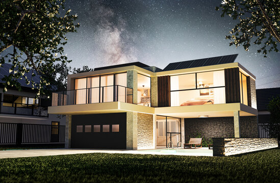 Modern home exterior during starry night with garage, pool and photovoltaics