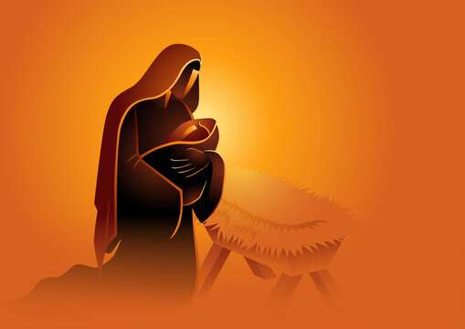 Biblical vector illustration series, Mary holding baby Jesus