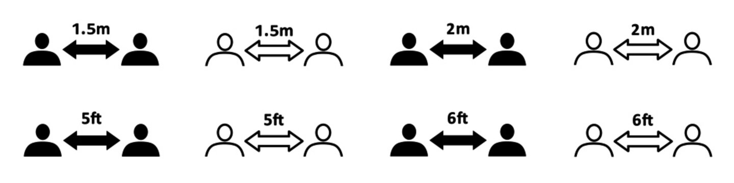 Set of social distancing icons. People divided by social distance lines of 1.5 and 2 meters and 5 and 6 feet. Vector Illustration