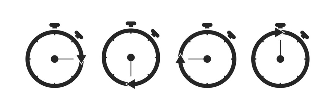 Stopwatch with arrow icon. Isolated set of countdown tool. Start and stop chronometer. Round stop watch symbol on white background. Simple black countdown with arrow inside. EPS 10.