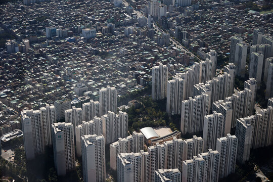 An aerial view shows apartment complexes and residential area in Seoul