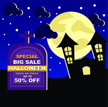 social media feed halloween big sale background with house and moon