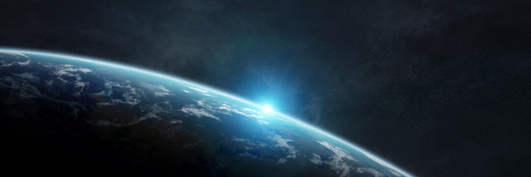 Panoramic planet Earth background. Panorama of space view of the globe 3D rendering elements of this image furnished by NASA