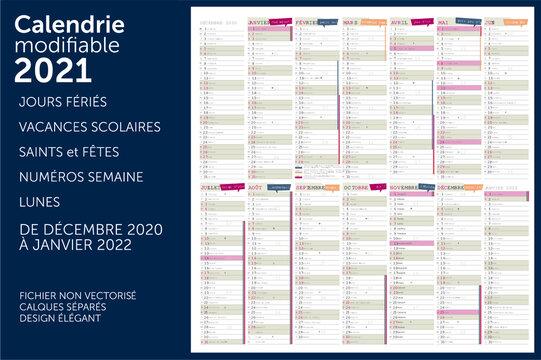 calendrier 2021 14 mois vecteur modifiable avec les jours fériés, numéros semaines, vacances scolaires, les lunes. Calques séparés