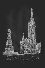 Wall Mural - vector sketch of St. Matthias Church in Budapest, Hungary.