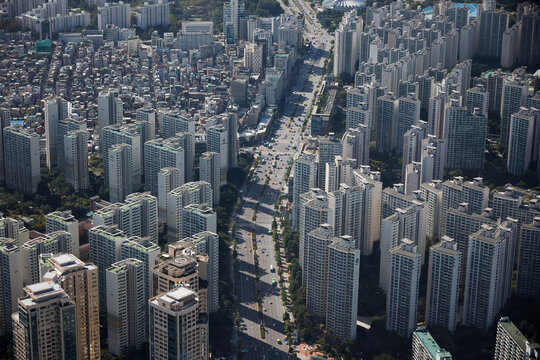 An aerial view shows apartment complexes  in Seoul