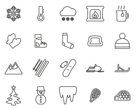 Winter Icons Black & White Thin Line Set Big
