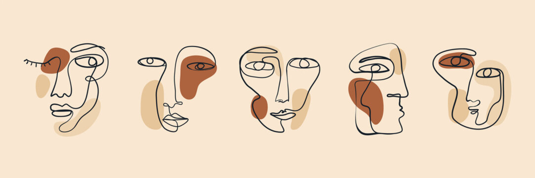 Trendy vector set of various faces illustrations in minimal continuous line style. Hand drawn vector fashionable collection.