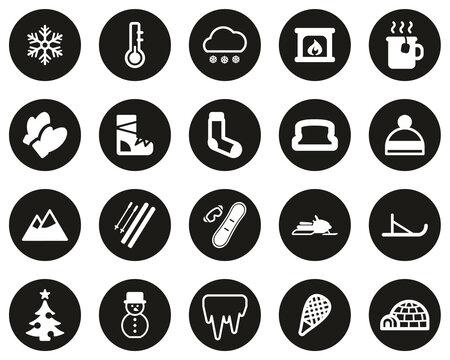 Winter Icons White On Black Flat Design Circle Set Big