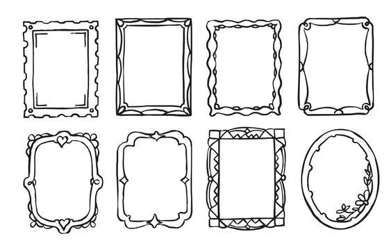 Doodle frame. Vintage hand drawn ornate picture frame in sketch style. Blank black rectangle and oval shape cadre border vector set illustration. Doodle elegant photo ornament with embellishment set
