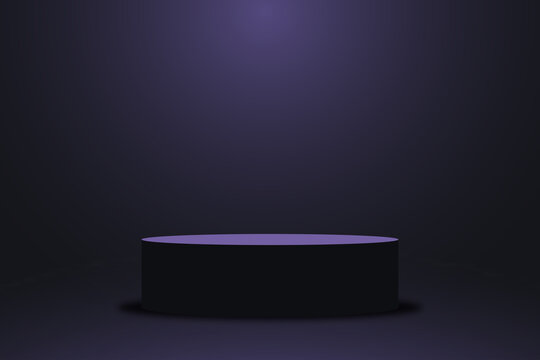 Realistic violet platform, dark purple stage with empty pedestal. 3d round podium for product display show or place for presentation. Vector.