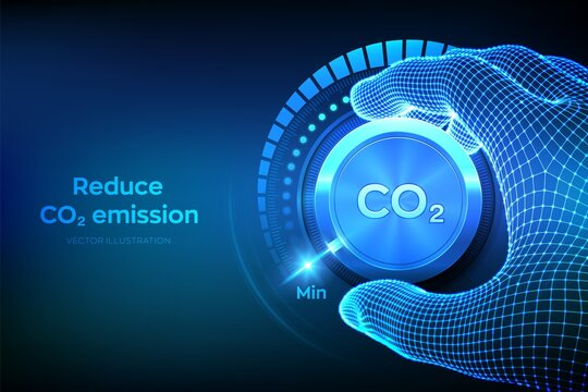 Carbon dioxide emissions control concept. Reduce CO2 level. Wireframe hand turning a carbon dioxide knob button to the minimum position. CO2 reduction or removal concept. Vector illustration.