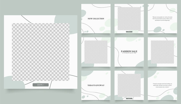 social media template banner fashion sale promotion. fully editable instagram and facebook square post frame puzzle organic sale poster. white green vector background