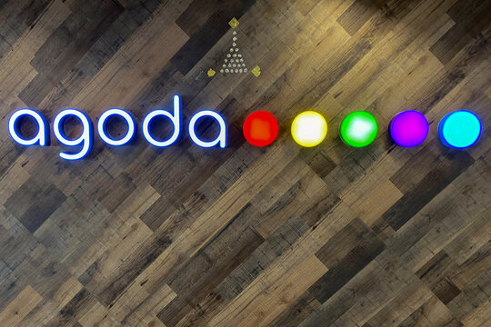The logo of Agoda online travel agency is seen at their office in Bangkok