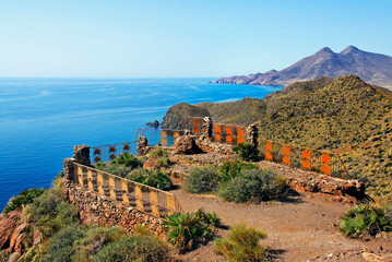 Amatistas viewpoint n Cabo de de Gata natural park near Almeria, Spain